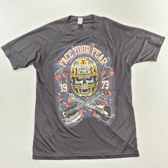 """US Blanks Other - KISS """"Face Your Fear"""" 1973 Band T-Shirt"""
